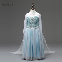 LAKAKSTY New Design Kids Girls Dress Princess Anna Elsa Cosplay Dresses Baby Party Vestidos Sequined Snow