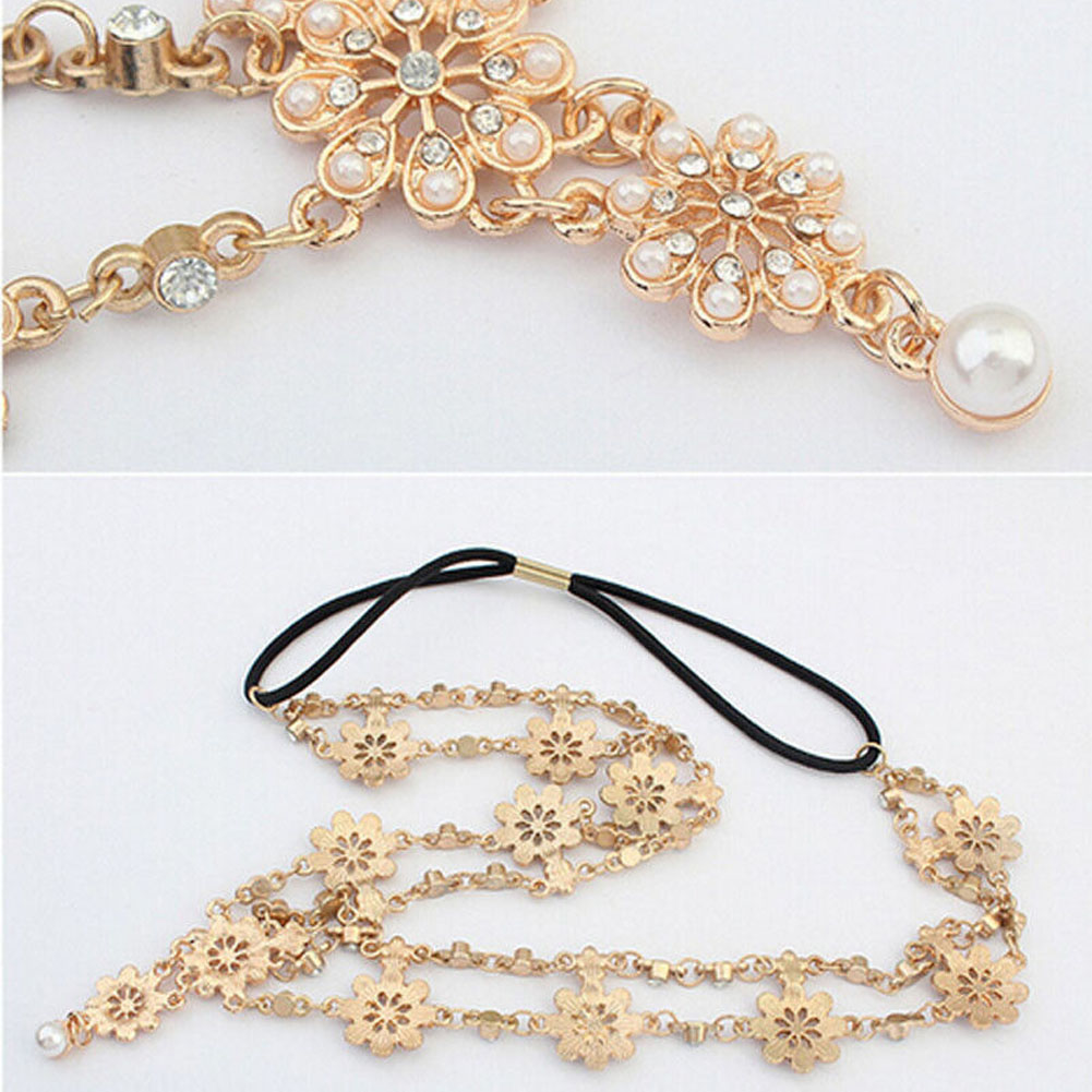 Imitation Pearl Flower Stretch Headband Hair Wedding Acessories Crystal Bridal Hair Accessories Head Chain Hair Jewelry 2017
