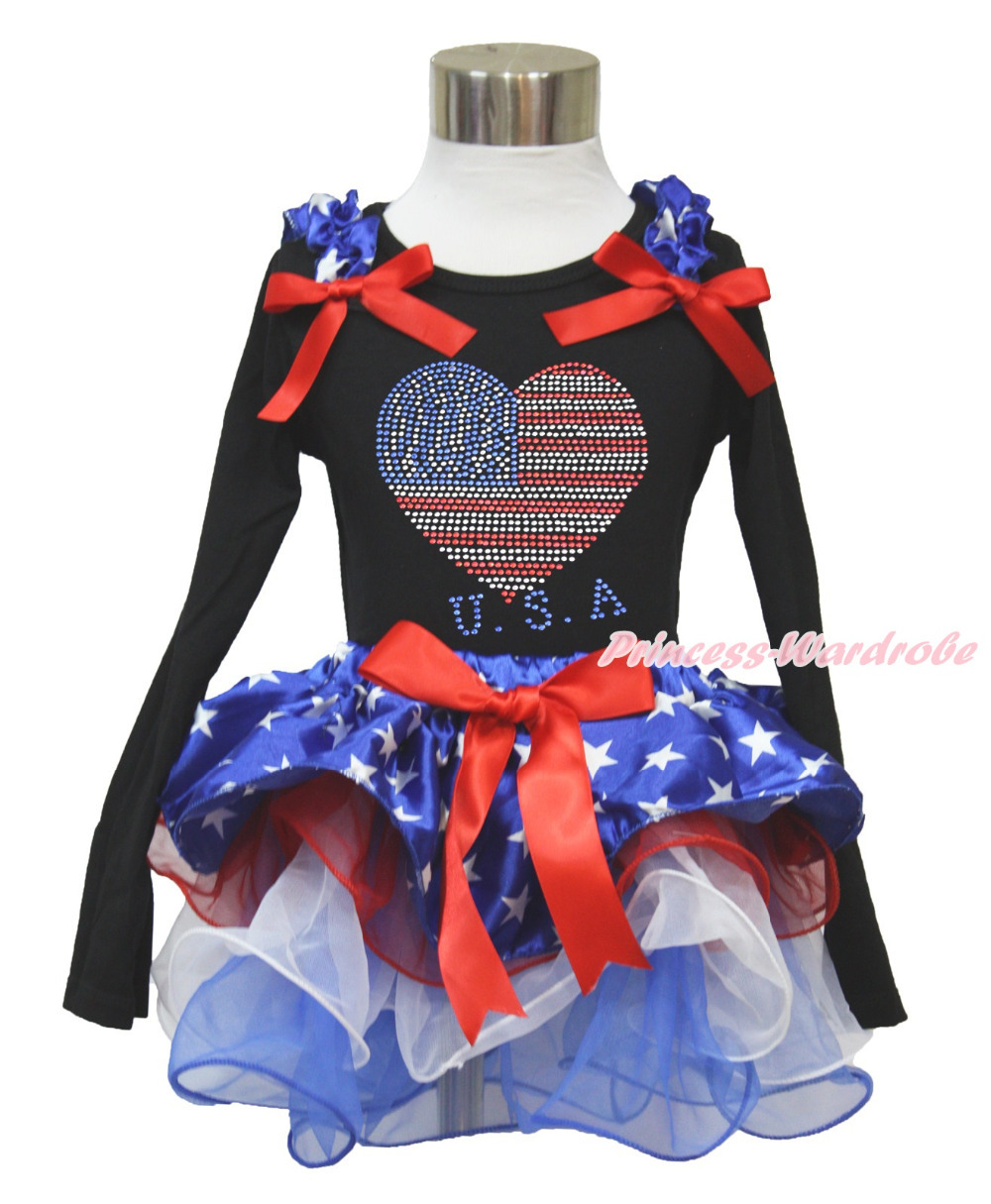 4th July Rhinestone USA Heart Black L/S Top Patriotic Star Red White Petal Pettiskirt NB-8Year MAMH229 4th july america flag style stripe pettiskirt white ruffle tank top 2pc set 1 8year mamg1143