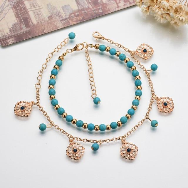 MissCyCy 2016 Lucky Kabbalah Fatima Hamsa Hand Blue Flowers Foot Jewelry Double Beads Turkish Ankle Bracelet For Women Anklet 2