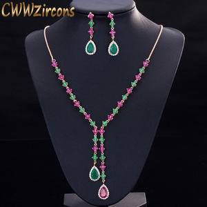Image 1 - CWWZircons Beautiful Green and Red CZ Zirconia Stone Jewelry 4 Leaf Long Drop Party Necklace Earrings Sets for Women T225