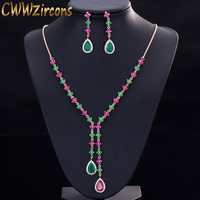 CWWZircons Beautiful Green and Red CZ Zirconia Stone Jewelry 4 Leaf Long Drop Party Necklace Earrings Sets for Women T225