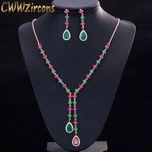 CWWZircons Güzel Yeşil ve Kırmızı CZ Zirkonya Taş Takı 4 Yaprak Uzun Damla Parti Kolye Küpe Setleri Kadınlar için T225