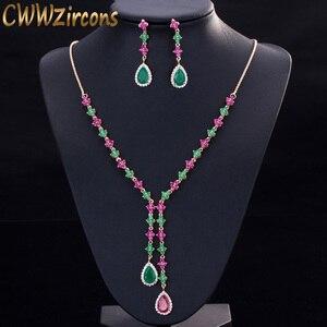 Image 1 - CWWZircons Güzel Yeşil ve Kırmızı CZ Zirkonya Taş Takı 4 Yaprak Uzun Damla Parti Kolye Küpe Setleri Kadınlar için T225