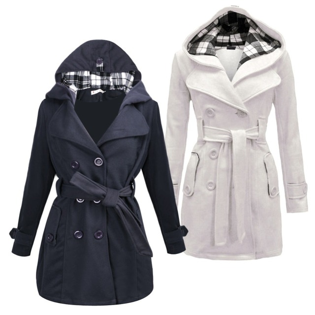 M-3XL Fashion Womens Warm Winter Hooded Long Section Jacket Outwear Coat White/Dark Gray