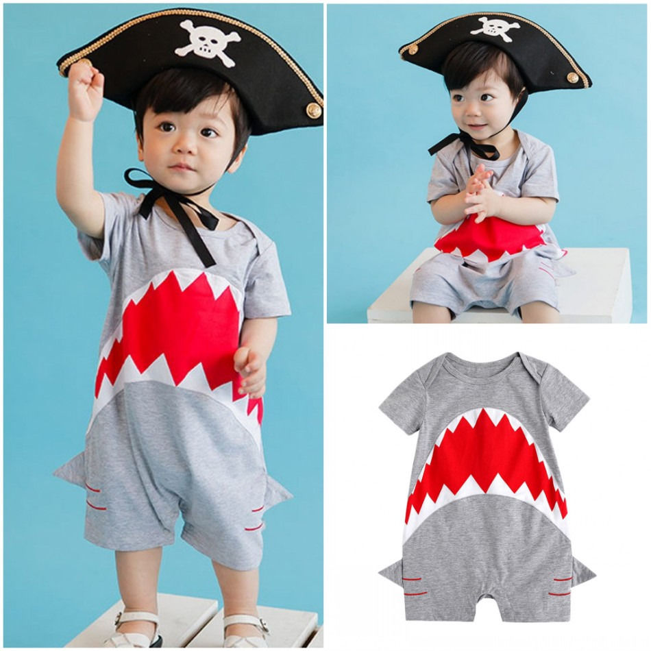 Newborn Baby Boys Clothes Shark Romper Jumpsuit Playsuit Outfits 0-24M