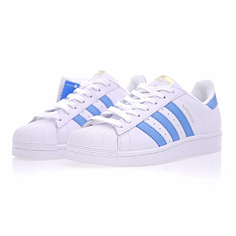 Adidas Originals Men Women Sneakers White Blue Stripe Skateboarding Shoes  Leather Breathable Lace up Adidas Sports-in Skateboarding from Sports ... e4b0fa96f8b5