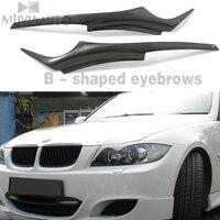 Para BMW E90 em Fibra De Carbono Os Faróis Sobrancelhas Pálpebras para BMW E90 E91 4DR Um B sobrancelhas em forma|Cúpulas p/ abajur| |  -