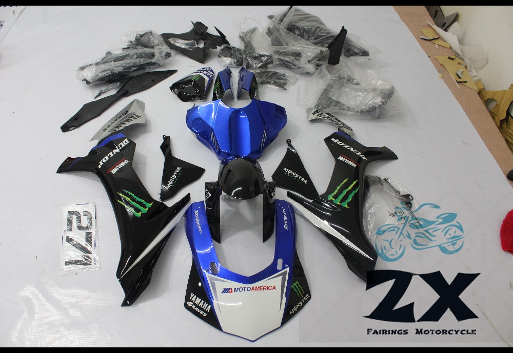 Complete Fairings Injection Motorcycle Fairings For Yamaha YZF R1 15 16 YZF-R1 2015 2016 Complete Fairing Kit Cowlings New suk19 motorcycle fairings for yamaha yzf r1 1000 yzf r1 yzf r1000 2009 2010 2011 abs plastic injection fairing bodywork kit gray
