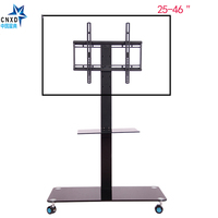 Mobile TV Display Floor Stand Height Adjustable Mount With Wheels DVD Holder For Flat Panel LED