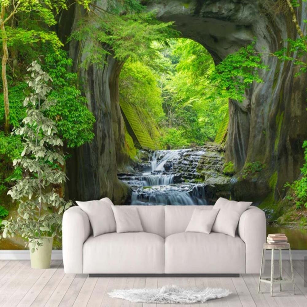 3D Fresh Rill Nature Forest Wall Mural Photo Wallpaper Scenery For Walls 3D Room Landscape Wall Paper For Living Room Home Decor