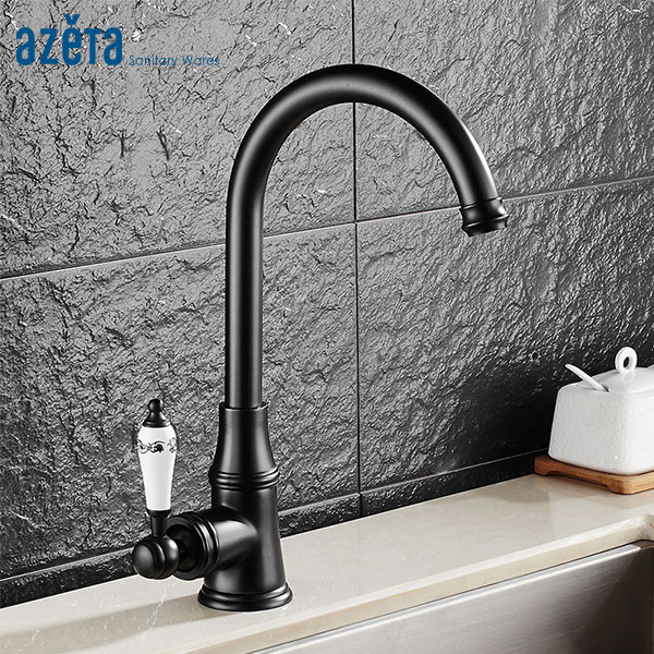 Azeta Free Shipping Kitchen Faucet Black Brass Tap Ceramic Handle Kitchen Faucet Rotatable Deck Mounted Kitchen Mixer MK2608B