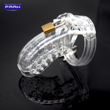 FRRK Transparent plastic breathable porous bird cage chastity penis ring device lock sex toys adult game