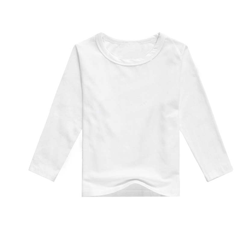 Children blank white solid shirts long sleeve fashion for Plain t shirt brands