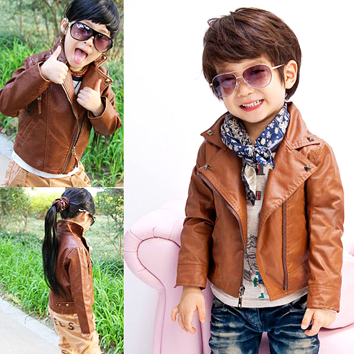 ФОТО Free shipping Autumn of han children leather for boys and girls locomotive leather jacket imitation leather coat