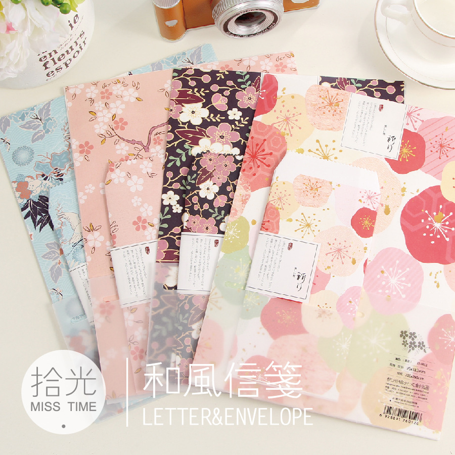 (4 Lots/pack) Vintage Flower Letter Writing  Paper And Envelops Set  Retro Stationery Cherry Blossom Paper Envelope