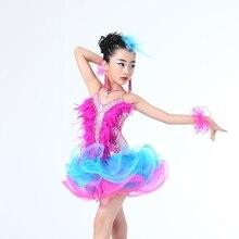 Дети Профессиональный Латинский Танец Dress для Девушки Бальный Танец Конкуренции Платья дети Современный Вальс/танго/Ча-Ча Костюмы