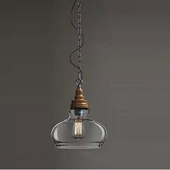 1 Light Wood Grain Loft Style Modern Industrial Pendant Lamp Edison Bulb, Lamparas Lustres E Pendentes,E27 Bulb Included