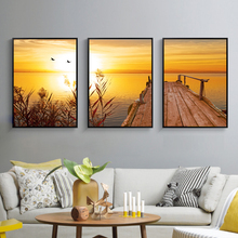 Sunset Natural Beach Landscape Poster And Print Canvas Painting Panorama Wall Art Picture For Living Room Home Decoration