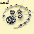 Blue Synthetic Sapphire New Fashion Sterling Silver Overlay Jewelry Sets Graceful Necklace Rings Earring Bracelet For Women
