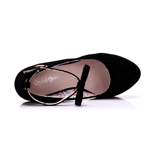 Image 2 - Nero rosso Elegante cunei dei pattini dei cunei sandali per le donne della piattaforma degli alti talloni punta rotonda scarpe tacchi alti bowknot zeppe scarpe