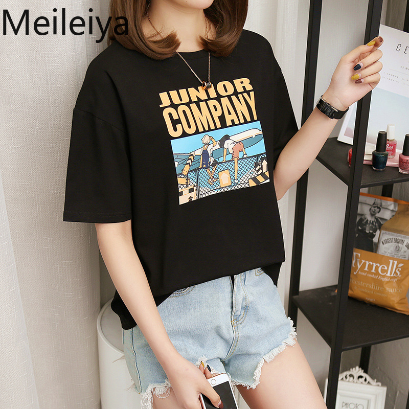 Casual cartoon print 2019 New summer short-sleeved t shirt women tshirt loose half-sleeved O-Neck Tops graphic Tees women