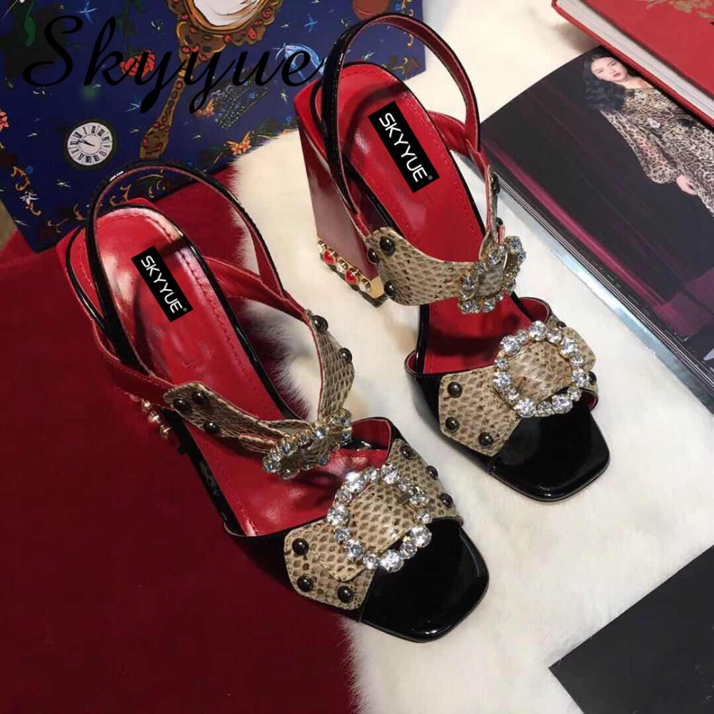 SKYYUE Top Quality Snakeskin Sexy Crystal Beading Women Sandals Gladiator Metal Sequined Buckle Strap Women Pumps Shoes Women sexy spaghetti strap asymmetrical sequined slimming women s dress