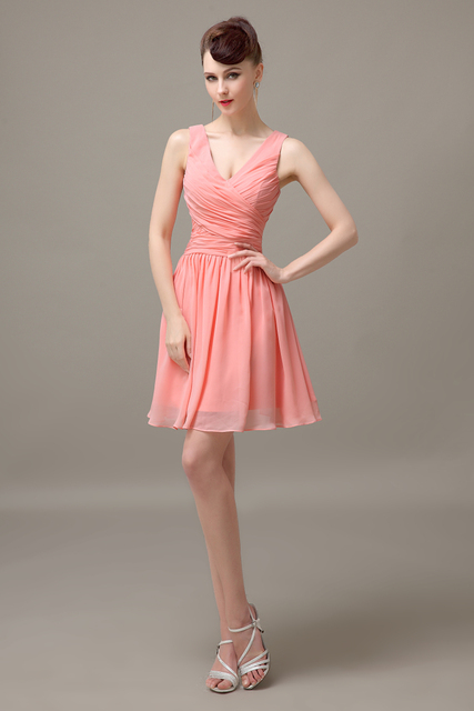 Peach Chiffon Short V Neck Off Shoulder Bridesmaid Dress Simple Junior Customized