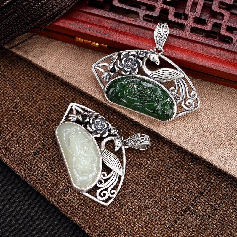 2018 Top Fashion Rushed Jasper S925 Pure Antique Mosaic And Peacock Plum Blossom Sweater Chain Pendant Wholesale 2018 top fashion sale agate s990 peacock peacock cloud chalcedony agate long silver chain sweater pendant wholesale