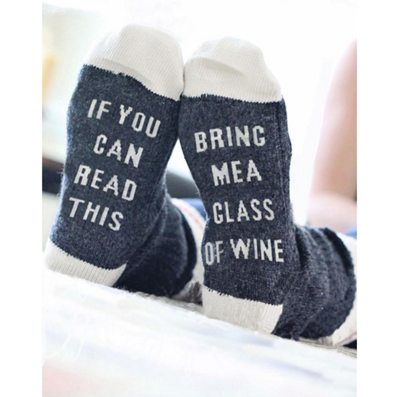 Humor Words Amusing Female Sock Funny If You Can Read This Bring Me Wine Beer Fascinating Interesting Socks for Pregnant Women