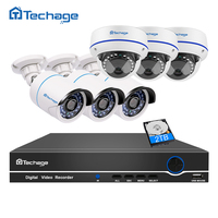 Techage 8CH 1080P POE Security Camera System Set NVR DVR Recorder HD 2 0MP VandalProof Dome