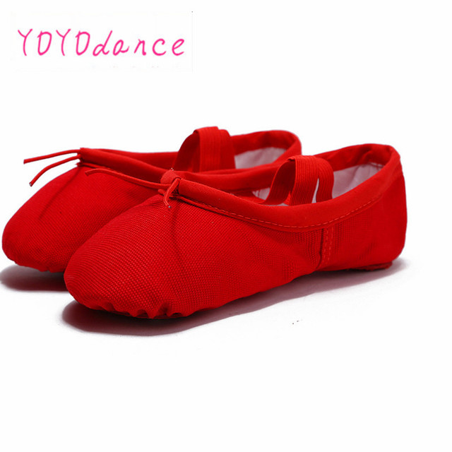 47f995c0bb7 6 Colors Black Pink Red White Flesh Brown Quality Canvas Ballet Shoes for  Kids Soft Splitsole Belly Dancing Shoe for Adult