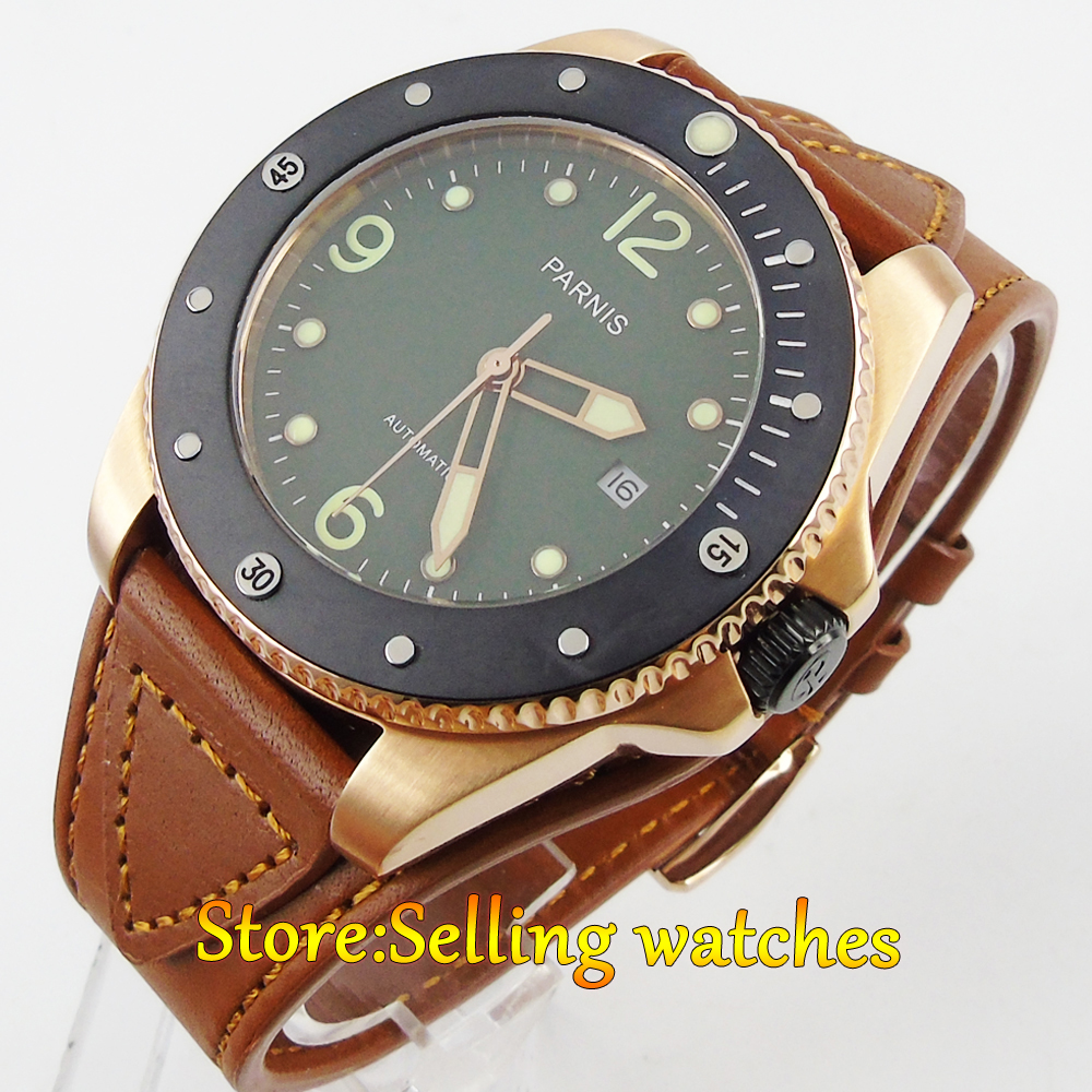 Parnis Green Dial Automatic mechanical Mens 43mm Sapphire steel Watch Parnis Green Dial Automatic mechanical Mens 43mm Sapphire steel Watch
