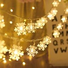 Светодиодный гирлянда, праздничные снежинки, гирлянды, гирлянды, на батарейках, висячие украшения, рождественские елки, вечерние, домашний декор