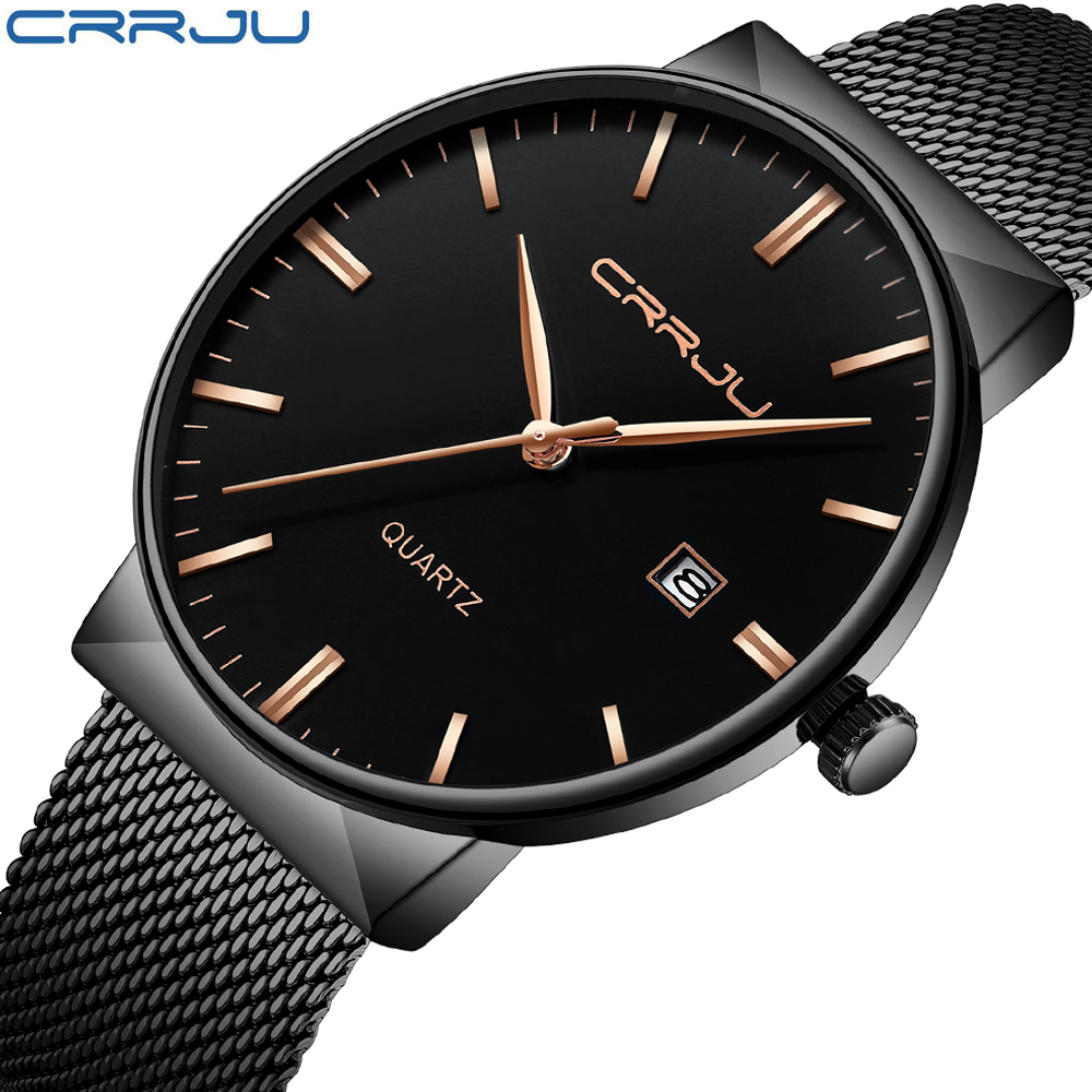 Luxury Brand Black CRRJU Full Steel Quartz Watch Men Casual Military Wristwatch Dress Waterproof Clock Male Relogio Masculino