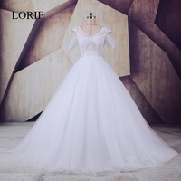 LORIE Real Picture Wedding Dress 2017 Robe De Mariee See Through Flowers Beaded Sexy White Tulle