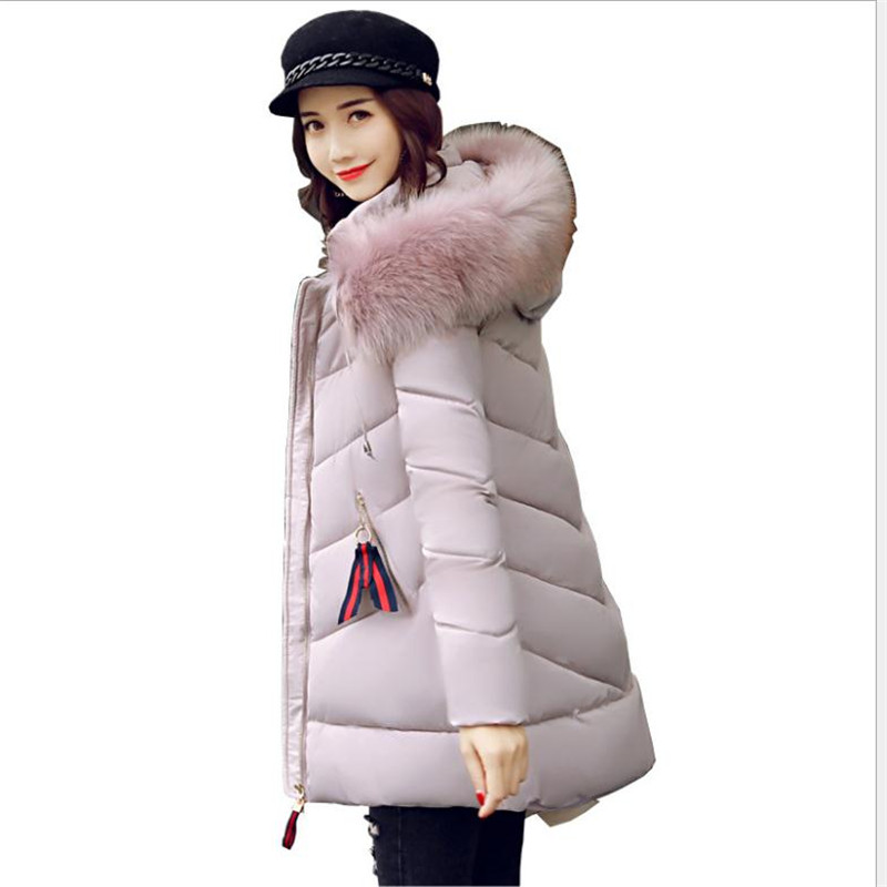 Fashion 2018 Women Winter Jackets Hooded Fur Collar Down Cotton Jacket Slim Medium-Long   Parkas   Female Warm Coat Plus Size CQ2790