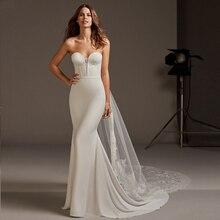 Verngo Soft Stain Mermaid Wedding Dress Elegant Gowns Sexy Strapless Backless Bride Vestidos De Novia 2019