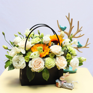 Image 3 - PVC Bouquet Flower gift Boxes Round Living Vases Florist Box Flower Plant Boxes Gift flower box  gift bags with handles