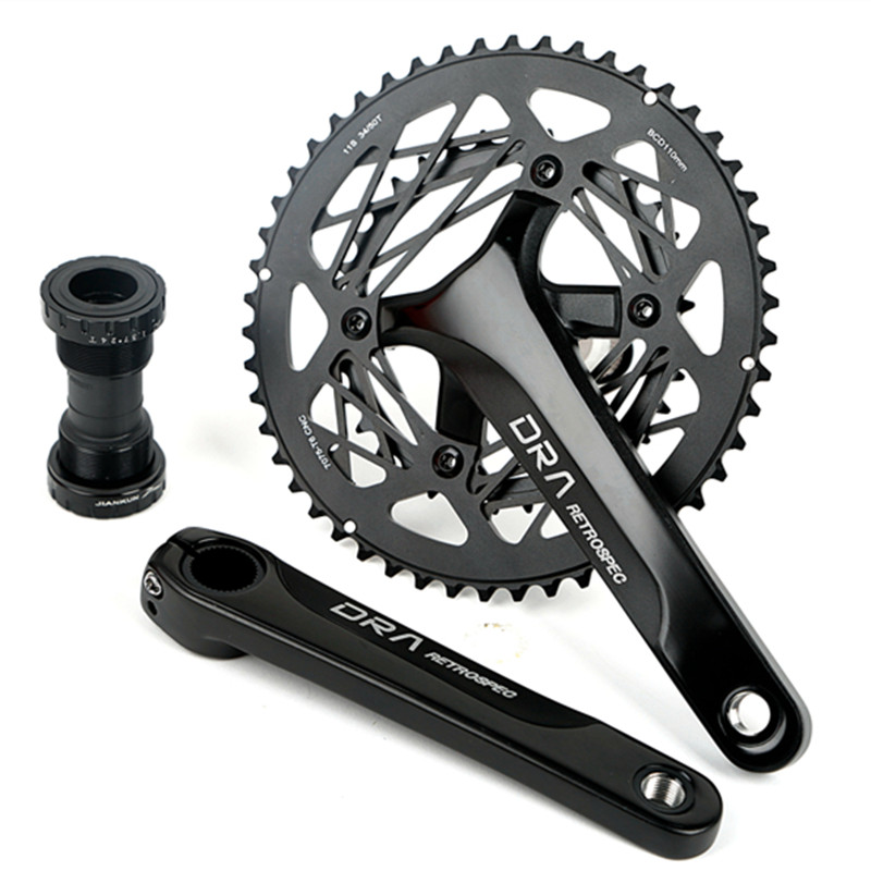 Q706 34-50T hollow ultra-light tooth plate aluminum alloy road car folding car bike large tooth plate Bicycle Crank & ChainwheeL colt meijun charm road bicycle folding crank modified single disc cairica tooth wheel crank leg