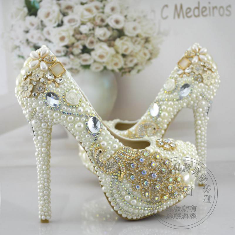 Luxury Bridesmaid Pearl Wedding Shoes font b Woman b font Platform Crystal Bright Round Toe Shallow