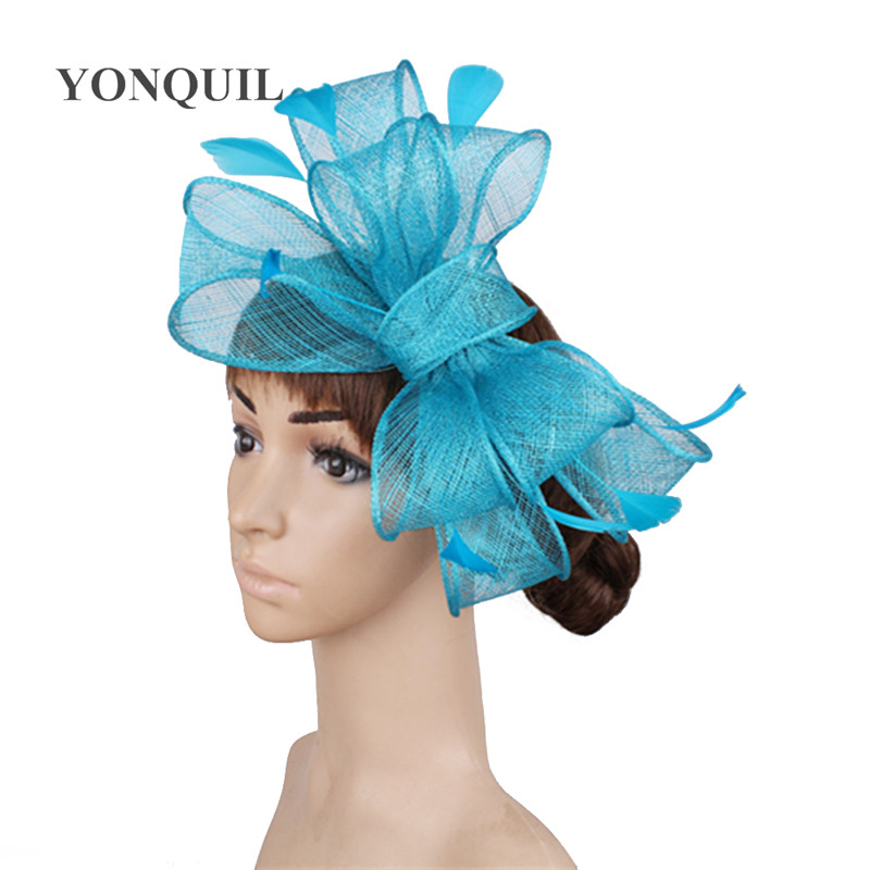 Винтажный белый головной убор Sinamay шляпа с причудливыми перьями Свадебные шапки Клубная кепка очень красивая 21 цвет можно выбрать SYF280 - Цвет: Небесно-голубой