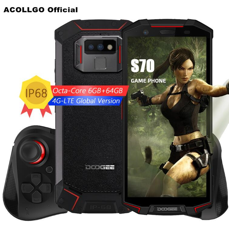 DOOGEE S70 GamePad 5500 mah IP69K IP68 Étanche 5.99 FHD + P23 MT6763 Octa Core 6 gb + 64 gb 16.0MP + 12MP Double Cames NFC Mobile Téléphone