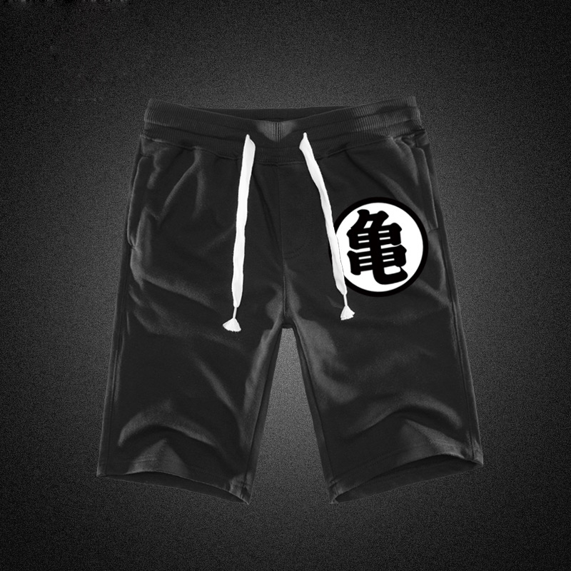 Impresión del verano Shorts hombres algodón Dragon Ball Goku negro caliente bolsillos cintura Mens Shorts rodilla moda Pantalones deportivos ocasionales