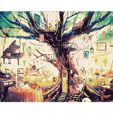 WONZOM Framed DIY Painting By Numbers Acrylic Paint On Canvas Dreamy Tree Hand Painted Oil For Home Decor 16*20 inch