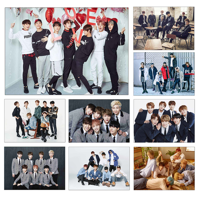 KPOP BTS Posters Bangtan Boys Bulletproof Boy Scouts Paintings coated paper clear image Home Decorations Wall Sticker