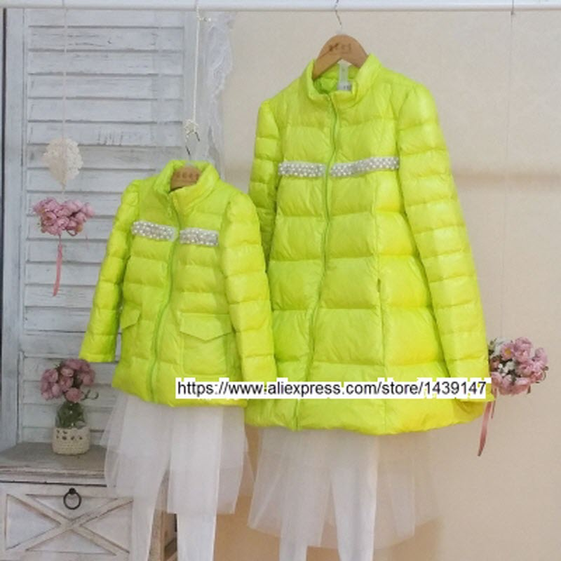 Children clothing Mother and Daughter warm down jacket coat , 2-10 years old Child baby Girl clothes , Women plus Large size 4XL 2017 winter coat grandma installed in the elderly women 60 70 80 years old down jacket old lady tang suit