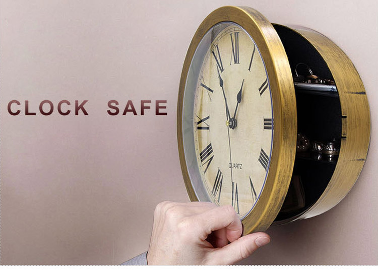 Wall Clock Safe Box Creative Vintage Hidden Secret Storage Box for Cash Money Jewelry Home Office Security Clock Style Safes (1)