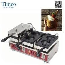 Открыть рот медведь Форма вафельные машины мороженое вафельный конус Maker Taiyaki Электрический аппарат для коммерческого использования вафельная машина милые
