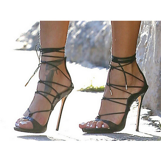 Genuine Leather Shoes Woman Strappy Ankle Tie Lace Up Sandals High ...